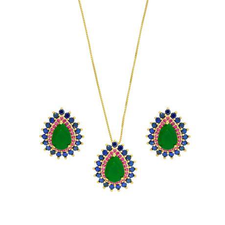 Conjunto colar dourado gota color-00022732
