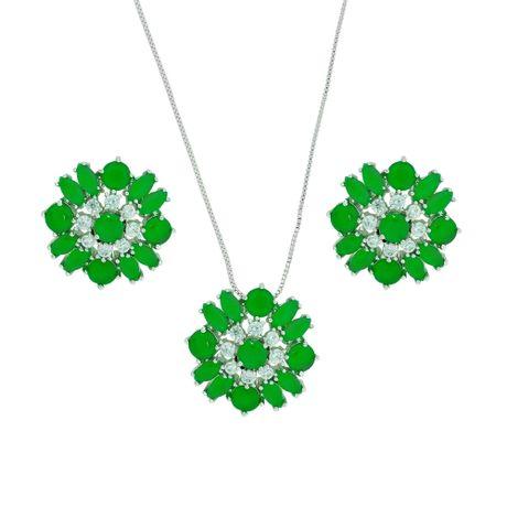Conjunto colar ródio flores jade-00022730