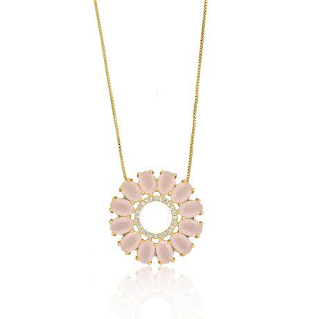 Colar-Dourado-Flor-Pedras-Ovais-Quartzo-Rosa-00027702