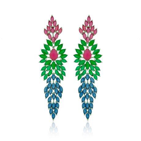 Brinco-Rodio-Longo-Navetes-Verde-Multicolor---00028322