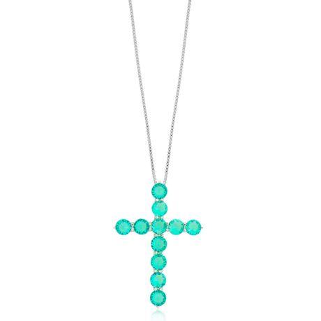 Colar-Prata-925-Crucifixo-Verde-Agua---00029375