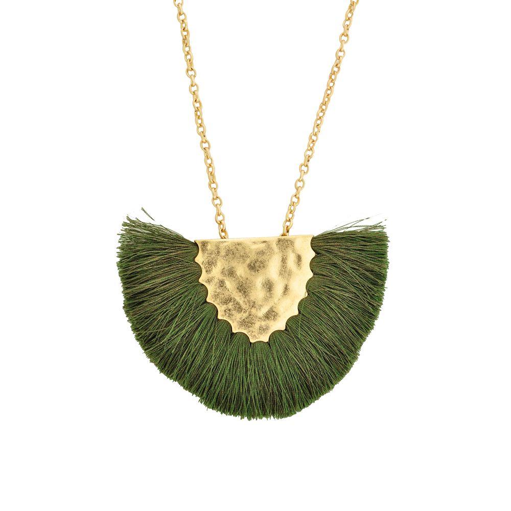 d2b949570 Colar Longo Ouro Velho Franja Verde| Pri Acessórios - Pri Acessórios