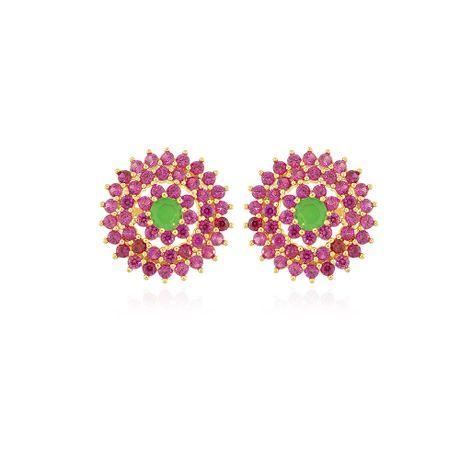 Brinco-Dourado-Flor-Rubelita-e-Jade---00033187