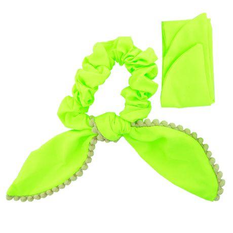 Scrunchie-Lenco-Verde-Fluorescente-e-Pompom-Beje---035717