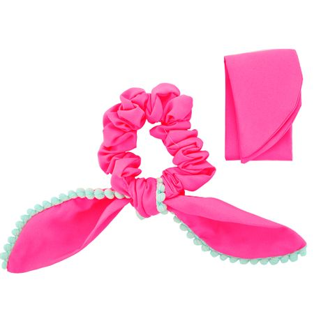 Scrunchie-Lenco-Rosa-Fluorescente-e-Pompom-Turquesa---00035716