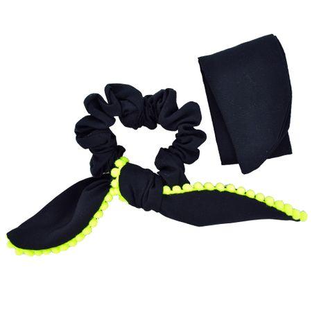 Scrunchie-Lenco-Preto-e-Pompom-Verde-Fluorescente---00035832