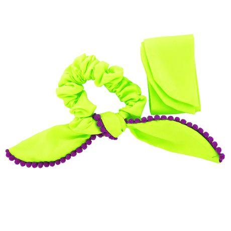 Scrunchie-Lenco-Verde-Fluorescente-e-Pompom-Roxo---00035833