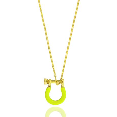 00043671-Colar-Dourado-Lock Amarelo Neon