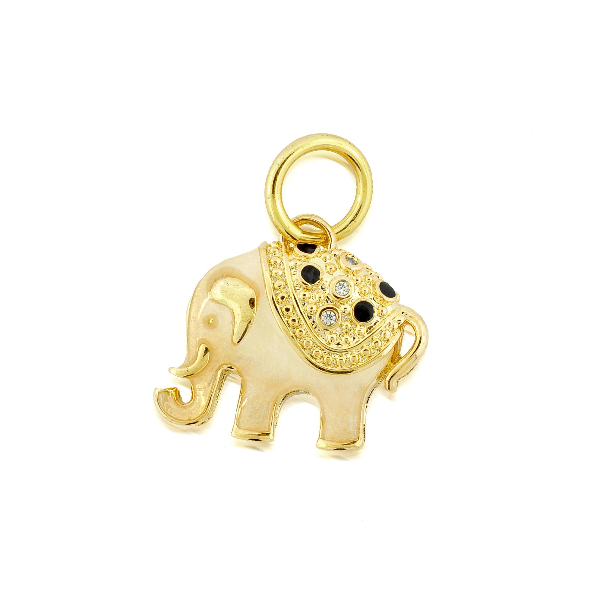Pingente Dourado Elefante Zircônias