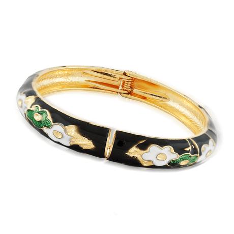 bracelete-dourado-preto-flor-00046577